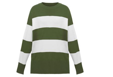 Gestreepte oversized trui | Topkwaliteit dames sweater met horizontale strepen Groen