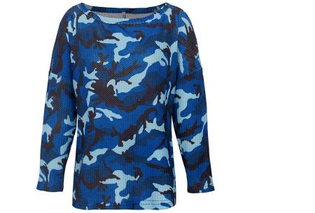 Camouflage dames trui | Hip shirt met legerprint in 3 trendy kleuren! Blauw