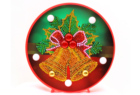 Diamond painting kerst decoratieschaal | Feestelijke schalen met ledverlichting!  #B