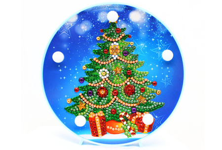 Diamond painting kerst decoratieschaal | Feestelijke schalen met ledverlichting!  #F