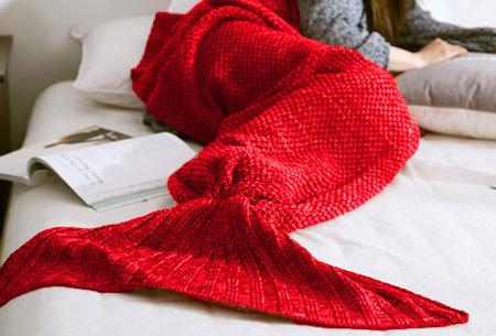 Zeemeermin deken | Gebreide deken met zeemeermin staart - keuze uit 2 maten en 5 kleuren  rood