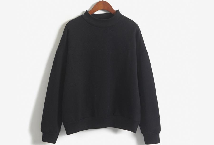 Turtleneck trui met fleece binnenzijde - Maat XS - Zwart