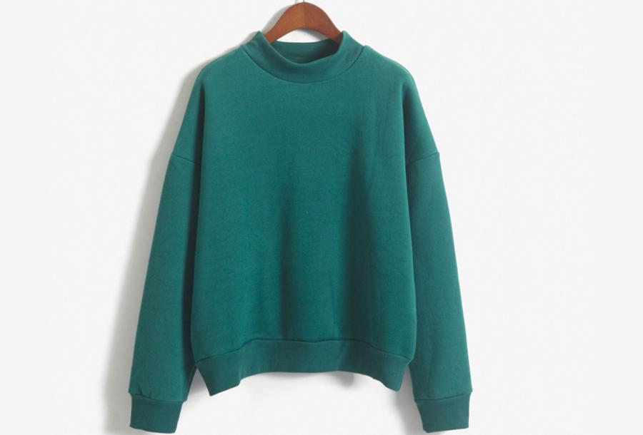 Turtleneck trui met fleece binnenzijde - Maat L - Groen
