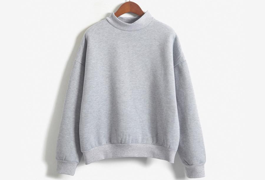 Turtleneck trui met fleece binnenzijde - Maat L - Grijs