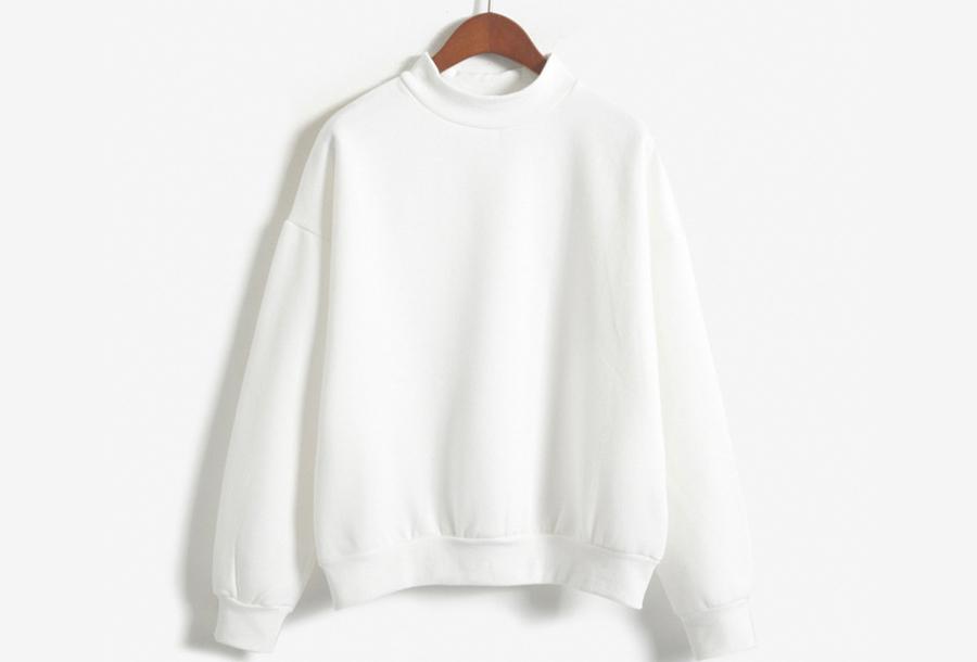 Turtleneck trui met fleece binnenzijde - Maat L - Wit