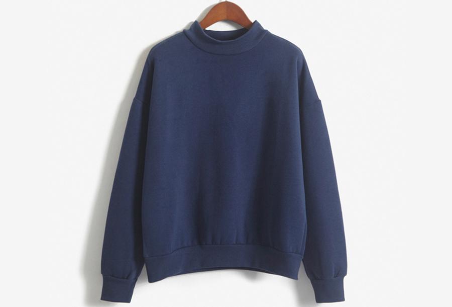 Turtleneck trui met fleece binnenzijde - Maat XS - Navy
