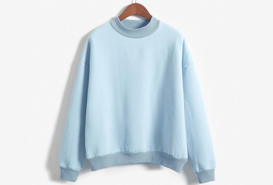 Turtleneck trui met fleece binnenzijde - Maat S - Lichtblauw