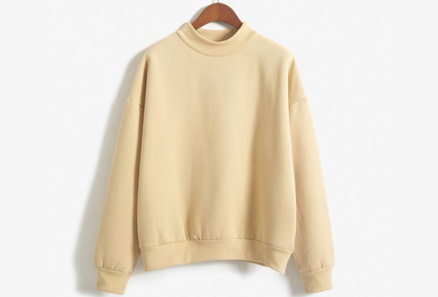 Turtleneck trui met fleece binnenzijde - Maat L - Beige