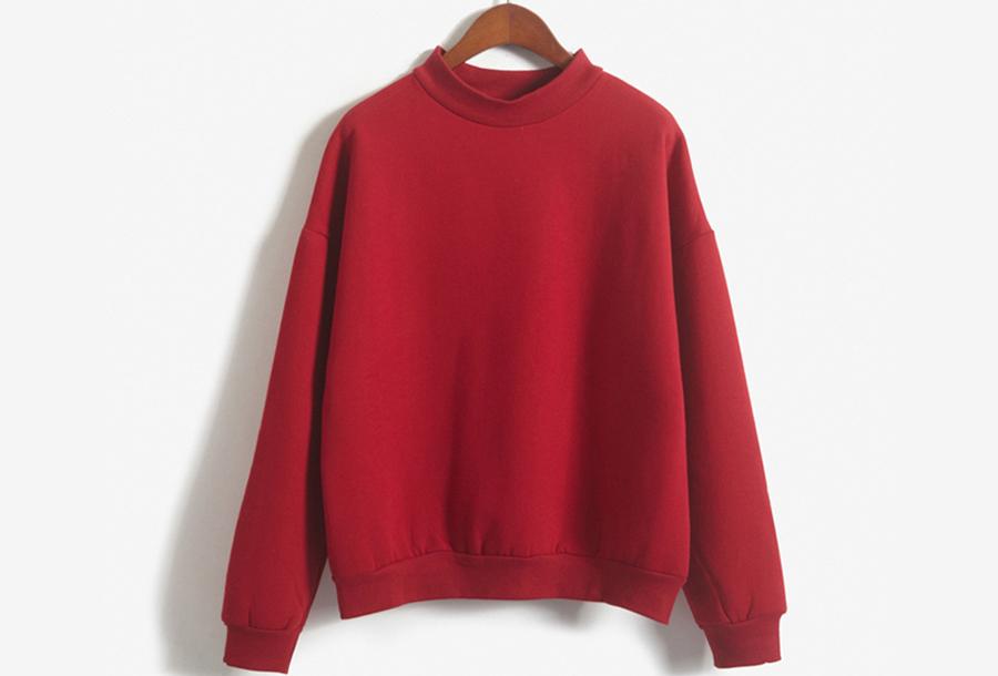 Turtleneck trui met fleece binnenzijde - Maat M - Rood