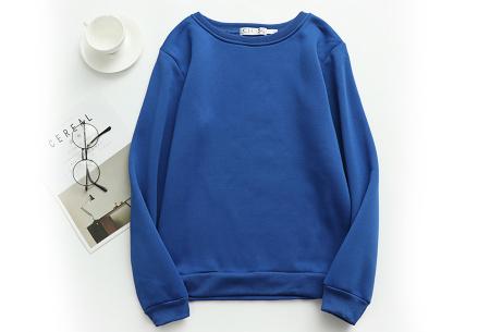 Basic dames sweater   Ideale basic trui met fleece - in 19 kleuren! Kobaltblauw