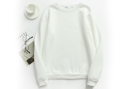 Basic dames sweater   Ideale basic trui met fleece - in 19 kleuren! Wit