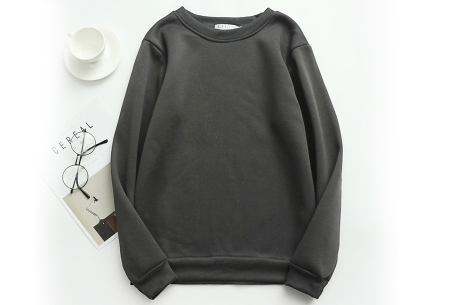 Basic dames sweater   Ideale basic trui met fleece - in 19 kleuren! Zwart