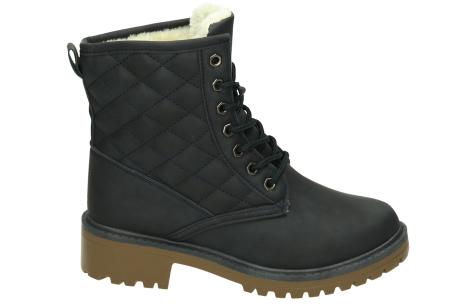 Gevoerde Pattern boots | Hippe laarzen met veters en heerlijk warme binnenvoering  Navy