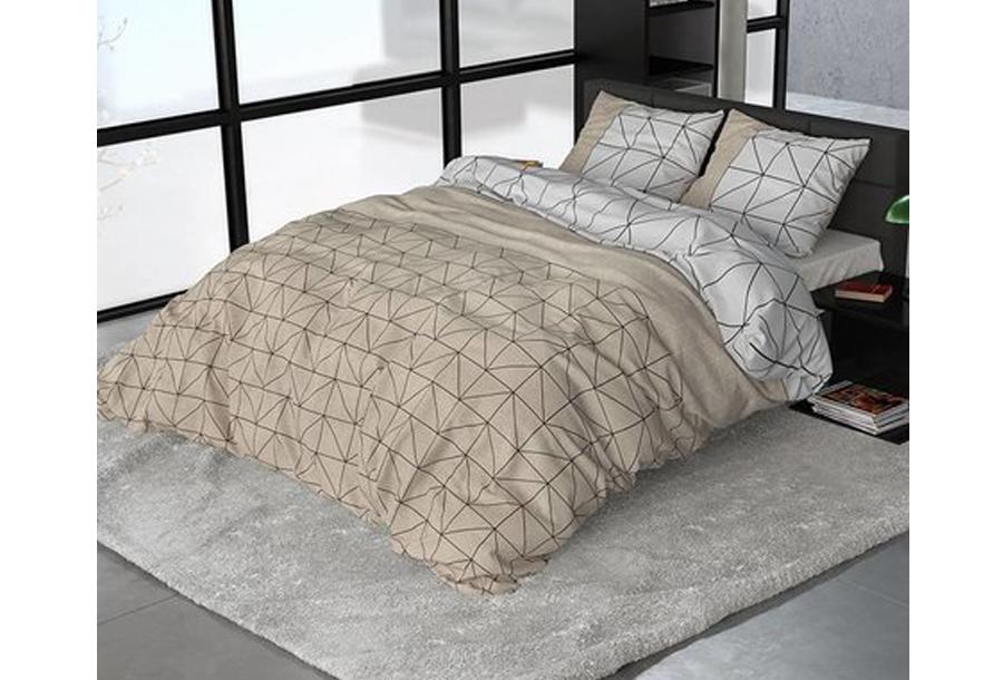 Sleeptime dekbedovertrekken van flanel Maat Gino Taupe - 200 x 220 cm