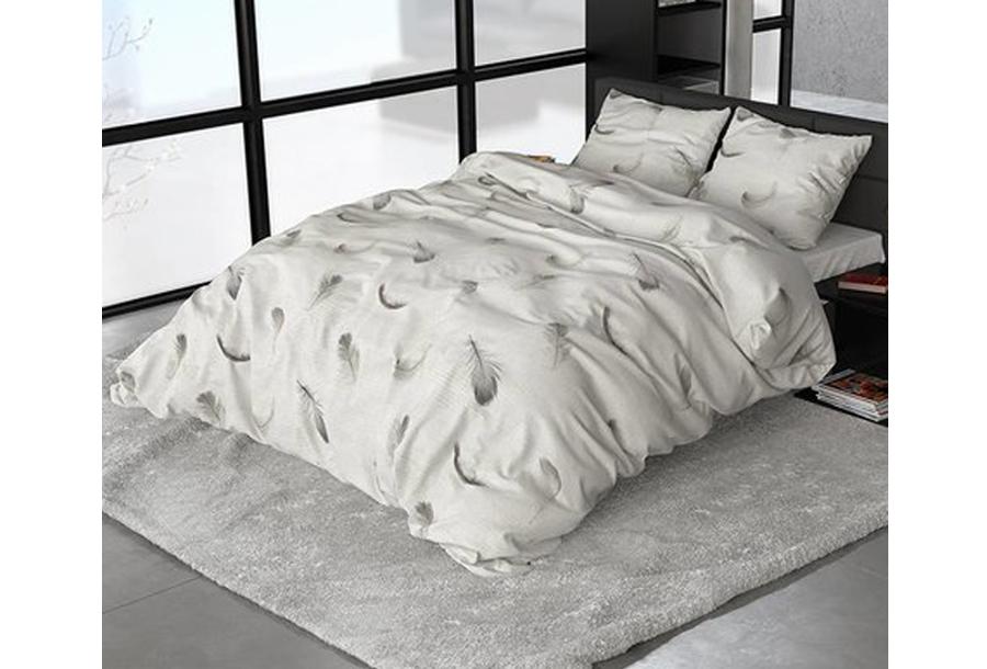 Sleeptime dekbedovertrekken van flanel Maat Vintage Feathers White - 140 x 220 cm