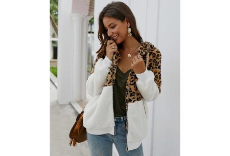 Dames vest met panterprint | Super comfy kledingstuk met gevoerde binnenzijde! Wit