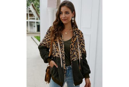 Dames vest met panterprint | Super comfy kledingstuk met gevoerde binnenzijde! Legergroen