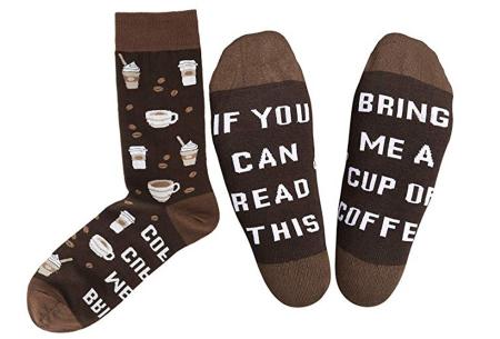 Sokken met tekst | Het leukste cadeau voor een bacon-, bier-, taco- of koffieliefhebber!  Koffie
