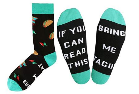 Sokken met tekst | Het leukste cadeau voor een bacon-, bier-, taco- of koffieliefhebber!  Taco's