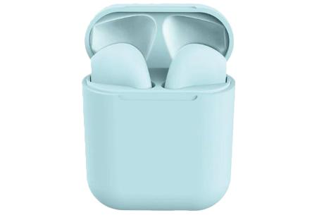 Draadloze stereo oordopjes | Bluetooth oortjes in frisse pastelkleuren! Lichtblauw