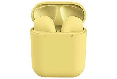 Draadloze stereo oordopjes | Bluetooth oortjes in frisse pastelkleuren! Geel