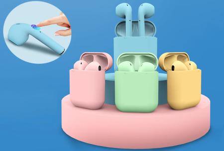 Draadloze stereo oordopjes | Bluetooth oortjes in frisse pastelkleuren!