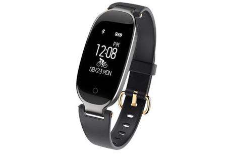 Dames smartwatch | Blijf altijd up-to-date met dit luxe horloge! Zwart - zilverkleurig