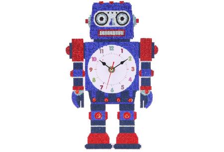 Diamond painting kinderklokken | Maak zelf de allermooiste klokken voor in de kinderkamer! Robot