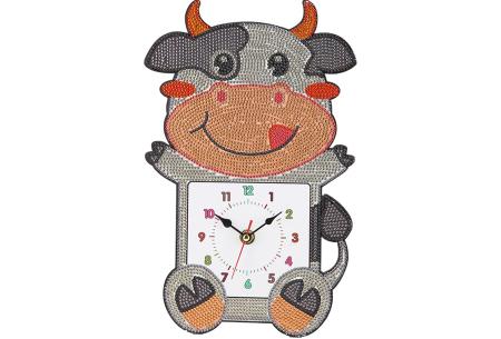 Diamond painting kinderklokken | Maak zelf de allermooiste klokken voor in de kinderkamer! Koe