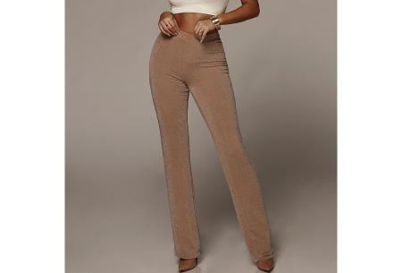 Glitter flared broek   Het perfecte kledingstuk voor de feestdagen! - Keuze uit 2 kleuren  Goudkleurig