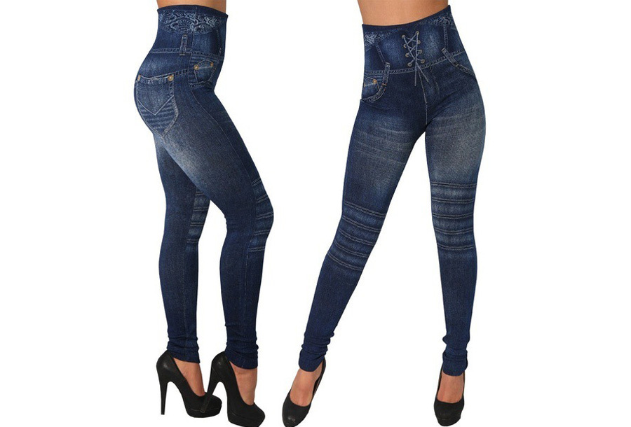 High waist jeans legging Set zwart + blauw - One Size