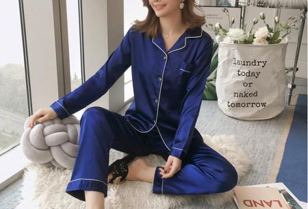 Satin look pyjama | Luxe pyjama voor dames in maar liefst 7 kleuren  blauw