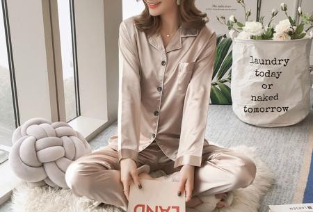 Satin look pyjama | Luxe pyjama voor dames in maar liefst 7 kleuren  champagne