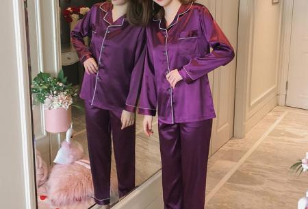 Satin look pyjama | Luxe pyjama voor dames in maar liefst 7 kleuren  paars
