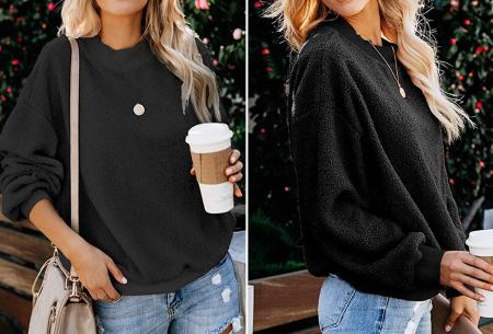 Teddy trui | Comfortabele dames sweater van zachte teddy stof Zwart