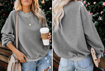 Teddy trui | Comfortabele dames sweater van zachte teddy stof Grijs