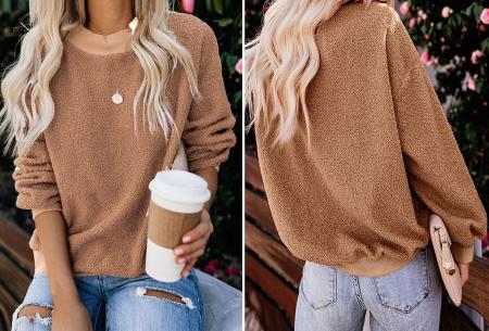 Teddy trui | Comfortabele dames sweater van zachte teddy stof Bruin