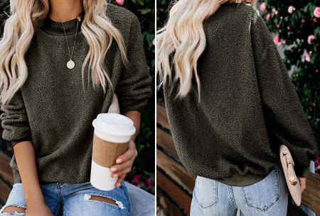 Teddy trui | Comfortabele dames sweater van zachte teddy stof Legergroen