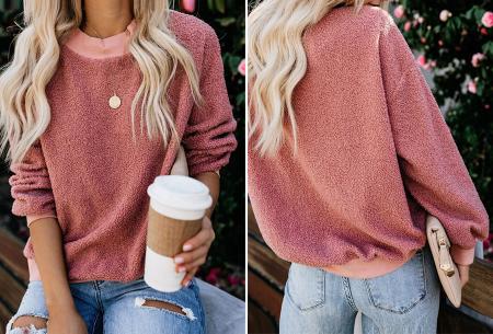 Teddy trui | Comfortabele dames sweater van zachte teddy stof Roze