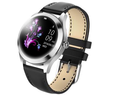 Luxe smartwatch voor vrouwen | Stijlvolle accessoire met mesh of PU lederen band  Zilverkleurig - zwart
