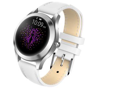 Luxe smartwatch voor vrouwen | Stijlvolle accessoire met mesh of PU lederen band  Zilverkleurig - wit