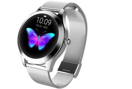 Luxe smartwatch voor vrouwen | Stijlvolle accessoire met mesh of PU lederen band  Zilverkleurig - mesh