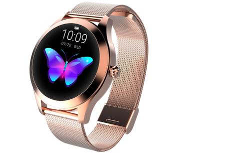 Luxe smartwatch voor vrouwen | Stijlvolle accessoire met mesh of PU lederen band  Roségoudkleurig - mesh