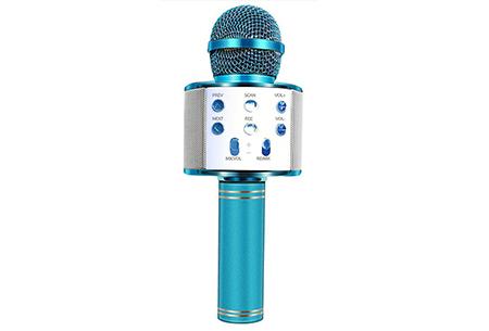 Karaoke microfoon | Draadloos & geschikt voor heel veel zangplezier  Blauw