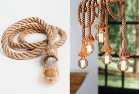 Touwlamp in de aanbieding <br/>EUR 9.99 <br/> <a href='https://tc.tradetracker.net/?c=24550&m=1018120&a=321771&u=https%3A%2F%2Fwww.vouchervandaag.nl%2FHandgemaakte-design-touwlamp-jute-lamp-uniek-korting-actie-aanbieding-interieur' target='_blank'>Bekijk de Deal</a>