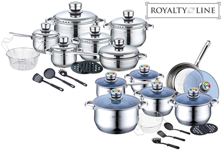 Royalty Line pannenset 18-delig | Topkwaliteit rvs pannen voor elke warmtebron, incl. inductie