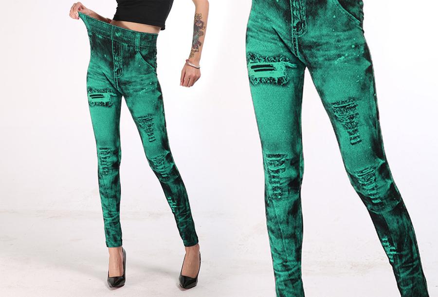 Jeans legging met wassing Groen
