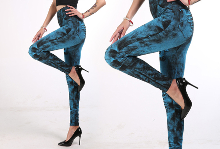 Jeans legging met wassing | Ga voor ultiem comfort met deze spijkerbroek legging! Lichtblauw