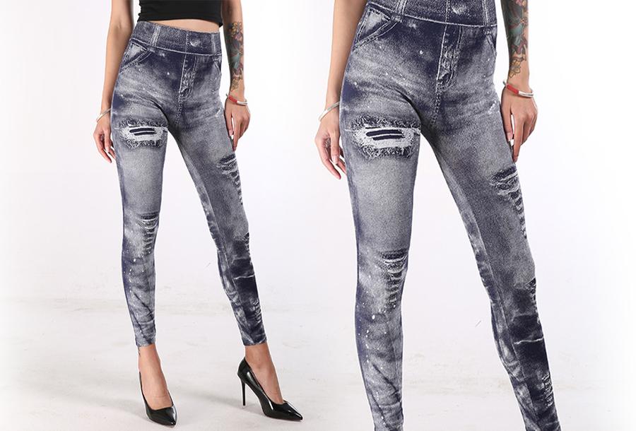 Jeans legging met wassing Navy