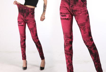 Jeans legging met wassing | Ga voor ultiem comfort met deze spijkerbroek legging! Rood